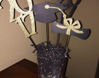 2017 Graduation Centerpiece/Boy or Girl/High School Grad/College Grad/ Black & Gold 2017 Graduation Centerpiece
