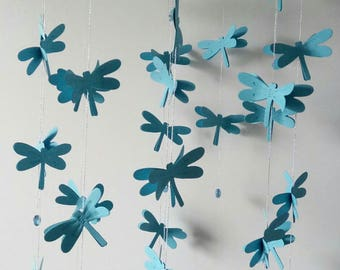 Child mobile. Baby mobile. Boy mobile. Dragonfly mobile. Blue Mobile.