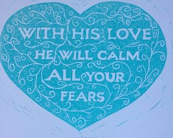 Zephaniah 3.17 A4 lino cut | Faith Scripture Colour