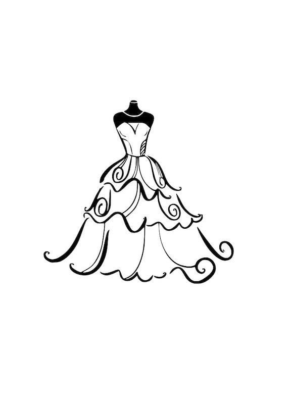 WEDDING Dress svg Bride outline SVG Digital Download Cuttable