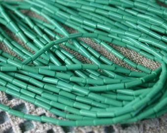 1 Hank Seed Bugle Beads 6x2mm Opaque Green Preciosa Czech Glass