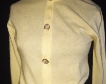 White Cashmere Cardigan w/Rhinestone Buttons  Sak's 5th Ave