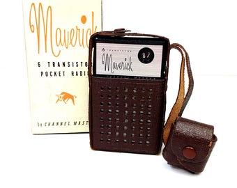 Vintage Maverick 6 Channel Master Transistor Pocket Radio Leather Travel Case Box