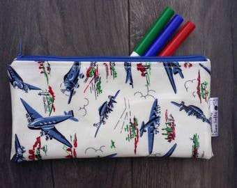 Wipe clean Vintage Planes pencil case