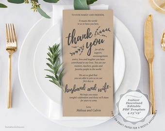 Wedding Place Setting Thank You Card, Instant Download Editable PDF Template, Kraft Wedding Thank you card in PDF template (TED408_2)