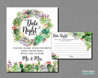 Date Night Ideas Game Printable, Succulents Bridal Shower Date Night Idea Activity, Elegant Floral Rustic Bridal Shower Activity