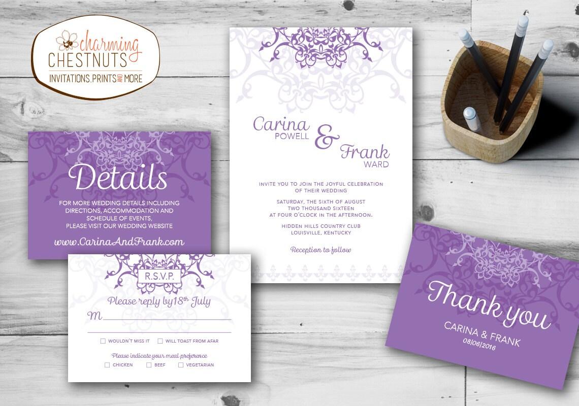 Purple Wedding Invitation Set Purple Wedding Invitation Lace