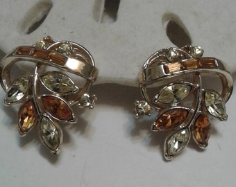 Coro Pat Pend Gold tone Topaz Clip On Earrings