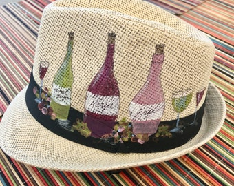 Hand-Painted Fedora Trilby - Wine Bottle Design - Wearable Art