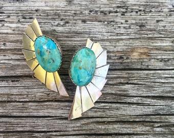 SALE Vintage Sterling Silver Southwestern Native American Turquoise Earrings