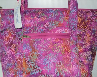 Quilted Fabric Bag Beautiful Batik Fabric with Mauves Pinks and Aqua