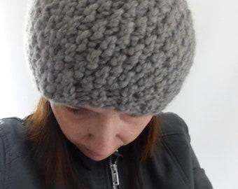 Bonnet gris Fait main