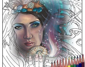 Ace of Cups Coloring Page Mermaid Coloring Page Printable JPG 78 Tarot Coloring Page Adult Coloring Page