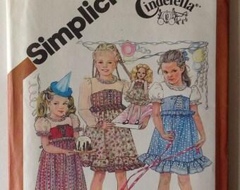 Simplicity 5256 UNCUT Childs Dress Size 6 Princess Vintage 1981