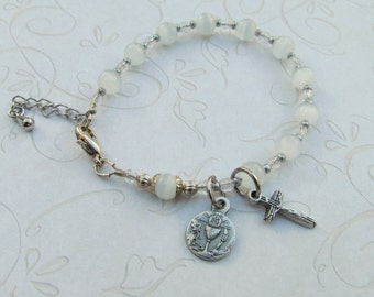 White First Communion Rosary Bracelet with Chalice medal and White Catseye Beads
