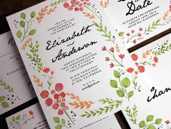 Hochzeit Einladung zum Ausdrucken Wasser Farbe Blumen