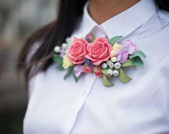 Collana con fiori, Collana, Pasta polimerica, Regalo originale, Collana originale, Donna, Accessorio da donna, Accessorio, Unico, Speciale