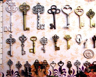 62 Steampunk Skeleton Keys Bulk Lot Brass Silver Gold Charms Wedding Tags Cards Beads Pendant Set Collection Reproduction Vintage Antique