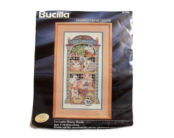 Vintage Bucilla     Stamped Cross Stitch Kit     Bunny Hutch   Les Lapins