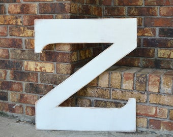 "24"" Wooden Letter Z, Classic Font in Distressed White - all letters available in many colors"