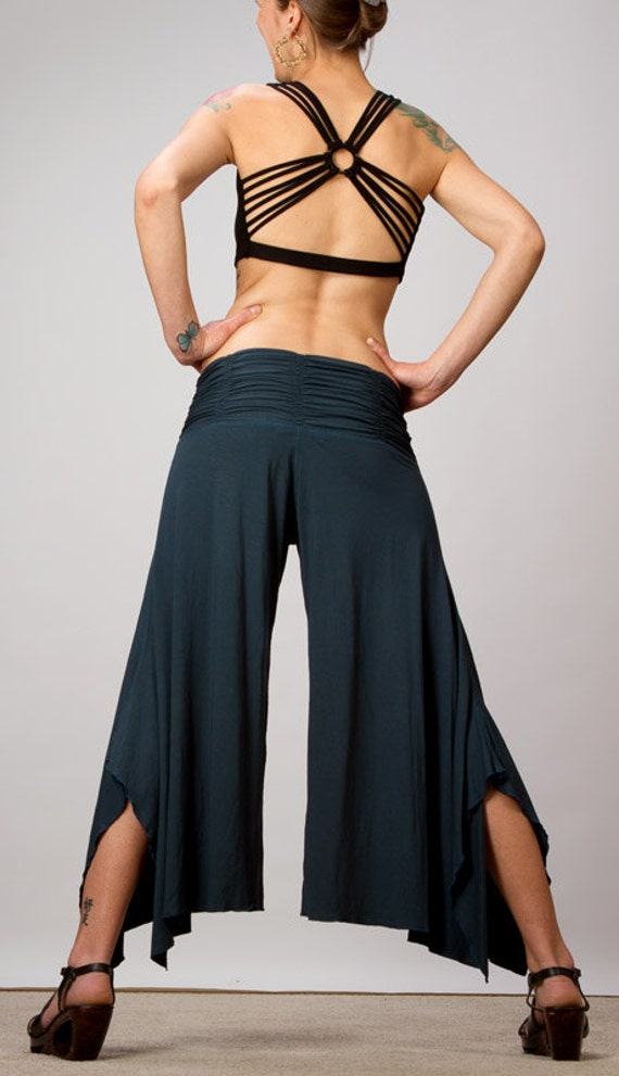Spring Sale! Shakti Ruched Waistband Comfortable Wide Leg Pants in Dark Teal or Black