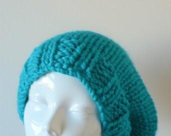 slouchy beanie, beanie hat, chunky slouchy beanie hat, Teal Slouchy Hat, knit slouchy beanie, Knitted Slouchy Hat, chunky slouchy hat