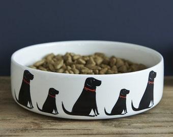 Black Labrador ceramic dog food / water bowl