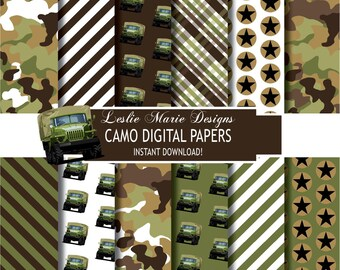 CAMOUFLAGE Digital Papers - INSTANT Download - Camouflage, Camo, Stripes, Stars