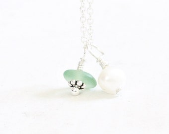Dainty Seaglass Necklace. Sea Glass Charm Necklace Beach Glass Jewelry with Pearl,