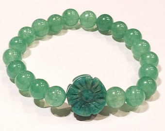 Amazonite and Aventurine Flower Bracelet.