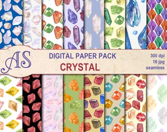 Digital Watercolor Crystal Seamless Paper Pack, 16 printable Digital Scrapbooking papers, gems Digital Collage, Instant Download, set 334
