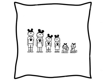 Mickey Mouse Stick Family Iron On, Micky Ears, Stick Family, DIY Iron On, Iron On, Heat Transfer Paper, Iron On Transfer, for Light Colors