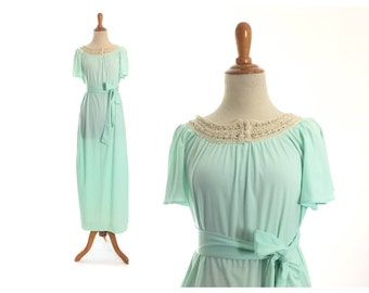 1970s dress 70s dress mint green dress vintage dress boho dress maxi crochet dress polyester dress womens dress 70s costume large costume