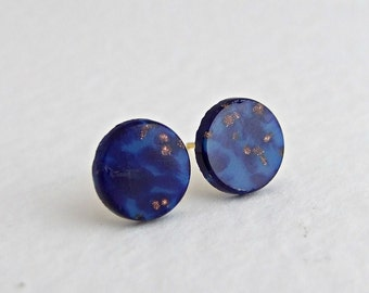 Lapis Lazuli Earrings .. blue post earrings, blue studs, small earrings, vintage glass