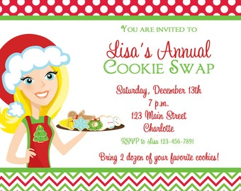 Cookie Swap Invitation Cookie Exchange Invitation Christmas Cookies Holiday Cookies - Custom hair and eye color