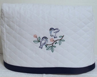 White 2 slice Toaster Cover with 2 Cute Blue Birds