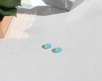 Turquoise Blue Chalcedony Rondelle Beads Semi-precious Stone