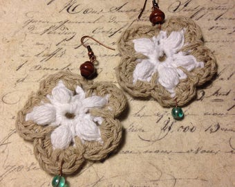 Crocheted earrings - Feathery Summers