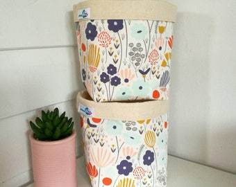 Set of 2 fabric storage baskets (square)