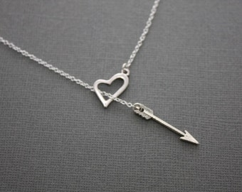 083- Love Heart and Arrow Lariat Necklace- Sterling Silver Necklace, Valentine's
