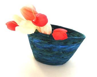 Medium Blue Wave Bowl // Handmade Coiled Fabric Basket Centerpiece Bowl Farmhouse Style Rustic Fruit Basket Change Bowl Batik Fabric