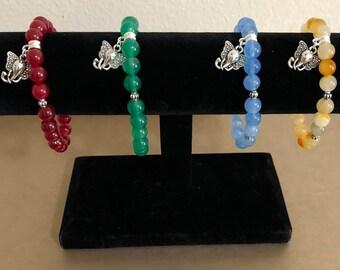 Bohemian Gemstone with Elephant Charm Bracelet