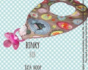 BINKY BIB - 8x14 hoop  - In The Hoop - Machine Embroidery Design File, digital download