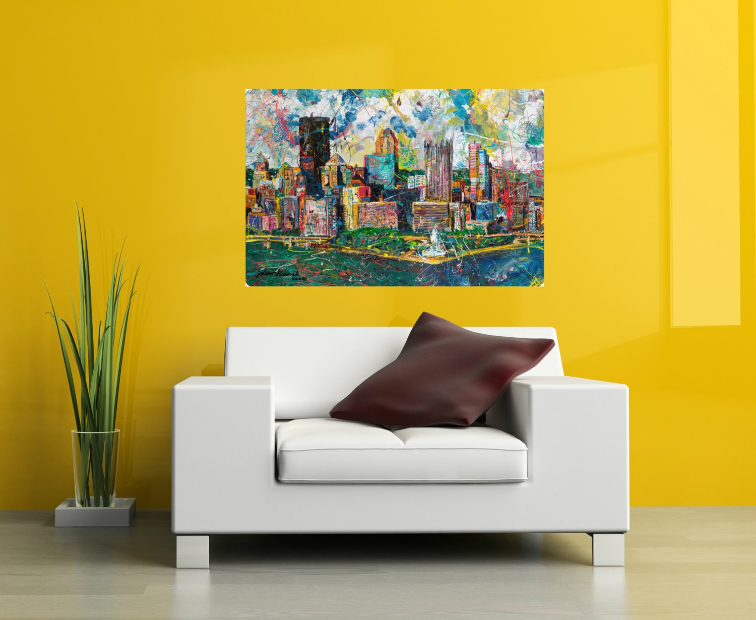 Metal print 24 x 36 Pittsburgh Skyline art Modern wall