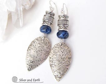 Handmade Sterling Silver Earrings, Sodalite Earrings, Boho Tribal Earrings, Blue Stone Earrings, Southwestern Jewelry, Stone Silver Earrings