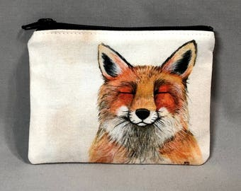 Foxy Friend - Small Zipper Pouch - Adorable Red Fox - Art by Marcia Furman