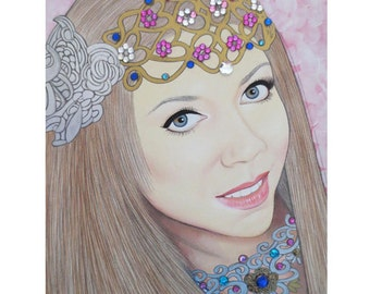 Bejeweled Beauties - Veronica Martynyshyn - Mixed Media Art - ART PRINT - 8 x 10 - By Toronto Portrait Artist Malinda Prudhomme