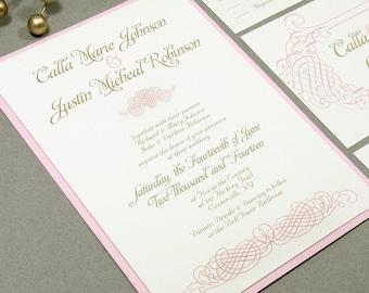 Romance Wedding Invitations, Blush Pink and Gold Wedding Invitation Suite, Elegant Wedding Pocket Invite Set, Vintage Wedding Invites Swirl