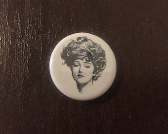 "1.25"" Gibson Girl Button/Keychain/Magnet"