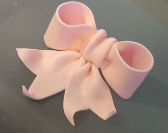 """Edible Bow with """"tail"""" - gum paste, fondant, sugar for wedding, birthday, anniversary cake topper"""